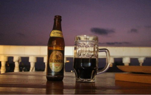 A glass of sweet Sierra Leone Guinness