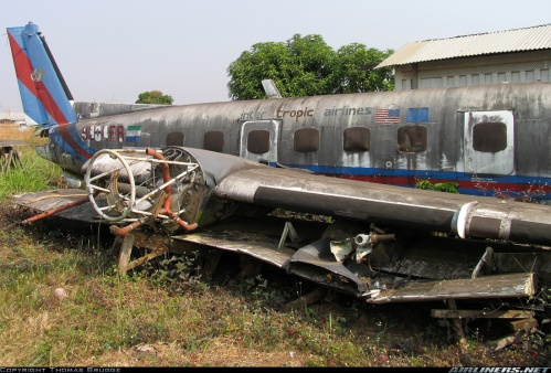 The sister plane 110-411, last registered as 9L-LBR, has sat in pieces at Freetown-Hastings Airport since 2002. Courtesy: Thomas Brügge/Airliners.net