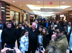 Toronto Mayor Rob Ford poses for photos at a Toronto mall in 2012