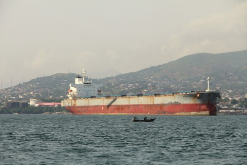 A tanker ship moored off Freetown, Sierra Leone.